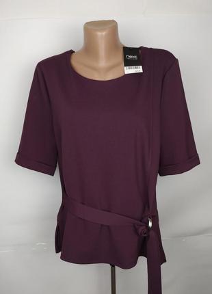 Блуза новая плотная фиолетовая с поясом next uk 14/42/l