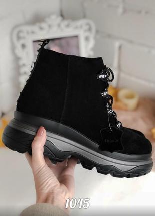 Ботинки зимние, натуральная замша, на платформе