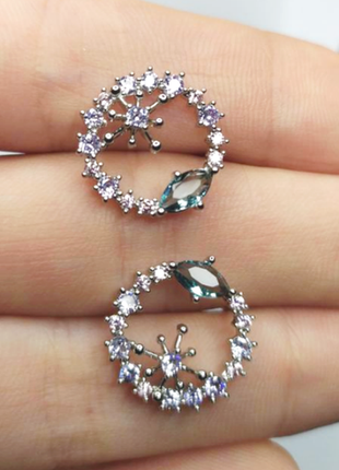 Родированные серебряные серьги-гвоздики ø17мм, серебро 925