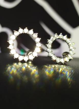 Серебряные серьги-гвоздики ø15мм с фианитами, серебро 925 пробы
