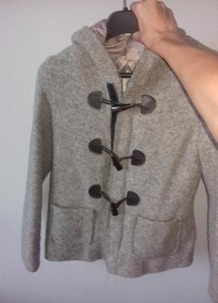 Итальянское шерстяное пальто,короткое серое пальто