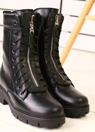 Женские зимние черные кожаные ботинки
