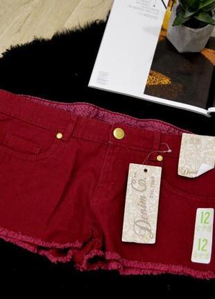 Джинсовые бордовые шорты с низкой посадкой