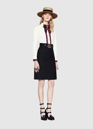 Черная классическая юбка оригинал гуччи original gucci 2017 год