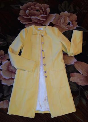 Женское пальто кашемир желтое хс, с