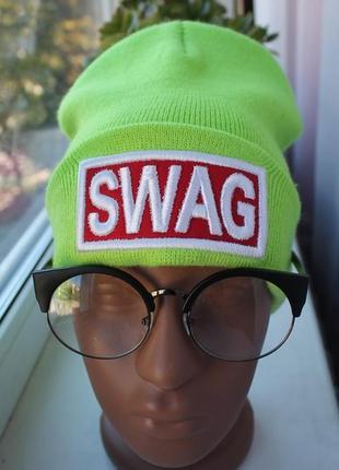 Новая стильная шапка бини, салатовая