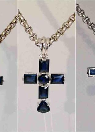 Крестик хрестик природный крупный сапфир 2,9 ct золото 585