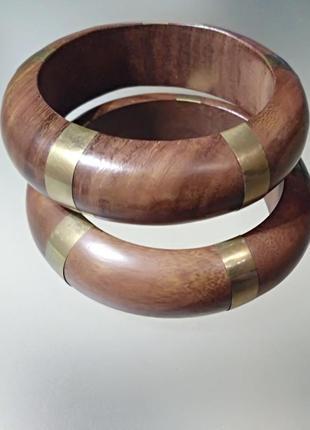 Роскошные деревянные браслеты с золотистым декором