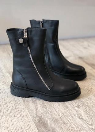 Кожаные зимние ботинки полусапоги