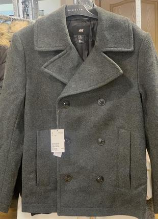 Мужское короткое шерстяное пальто h&m 46 50 54 размер