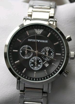 Мужские часы Armani в коробке silver&black