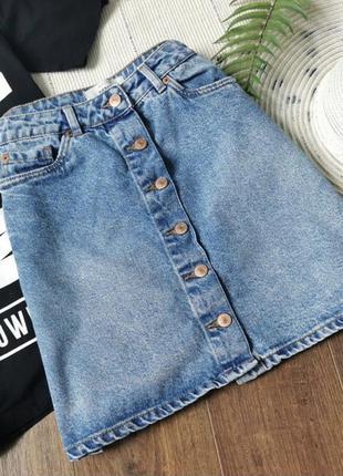 Джинсова спідниця на ґудзиках new look джинсовая юбка трапеция