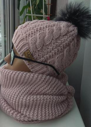 Новый комплект: шапка (полный флис) и хомут восьмерка, розовая...