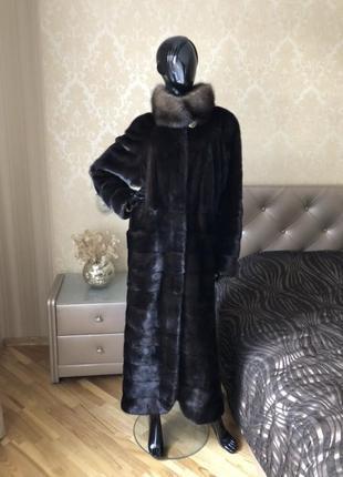 Норковая шуба меха екатерина 130 см с соболем, размер 48-52