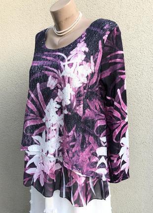 Комбинированная,трикотаж блуза,кружево,этно,бохо стиль