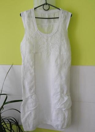 Белое льняное платье италия