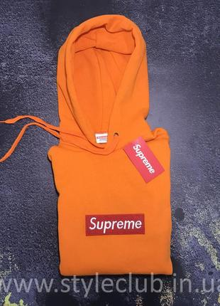 Толстовка с вышивкой supreme худи оранжевая