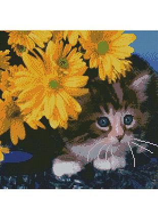 """Алмазная мозаика """"Котёнок в жёлтых цветах"""""""