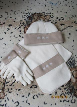 Теплый красивый флисовый комплект шапка-шарф-перчатки/снеговик...