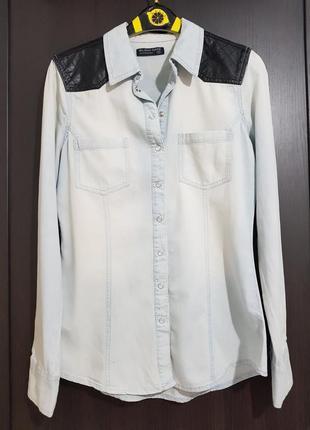 """Рубашка джинсовая """"кожанные плечи"""""""