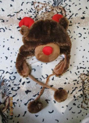 Зверошапка меховая олень медведь шапка теплая 54-56 размер/нов...
