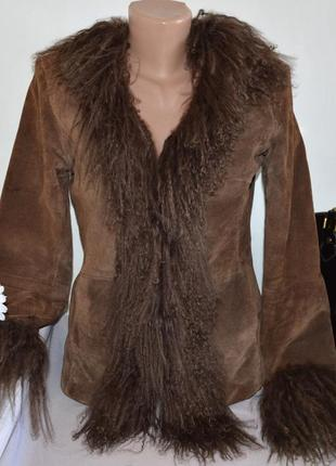 Брендовая коричневая демисезонная кожаная куртка river island ...