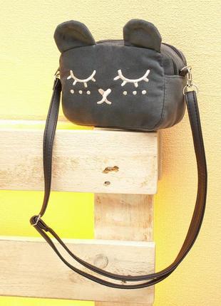Темно серая сумка на плечо для девочки, бархат велюр с вышивко...