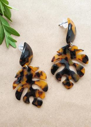 Крупные акриловые серьги леопард животный принт в форме листа,...