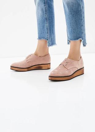 Стильные туфли, ботинки, искусственная замша с вышивкой, на шн...