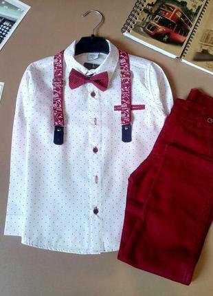 Нарядний костюм для хлопчика: рубашка, підтяжки, бабочка, штани