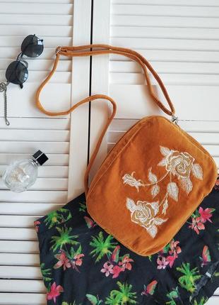 Яркая сумочка кроссбоди, желто-оранжевого, горчичного цвета с ...