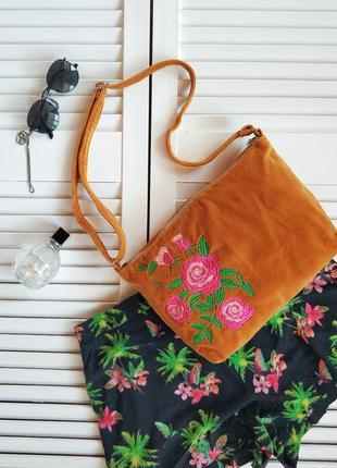 Шикарная сумочка с вышивкой, желтый, оранжевый, горчичный барх...