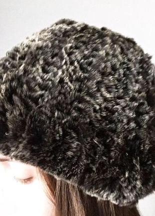 Вязаная шапка из натурального меха, шиншилловый кролик