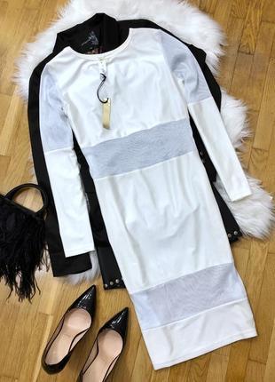 Белое платье с сеткой  размер м