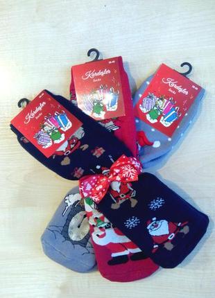 Носки женские новогодние плотная махра kardesler турция набор ...