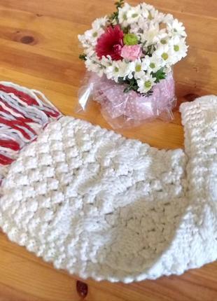 Огромный белый вязаный шарф, 30% шерсть, h&m, не zara, mango