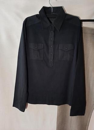 Черная рубашка из комбинированного хлопка
