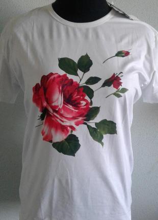 Женская футболка с цветочным принтом больших размеров
