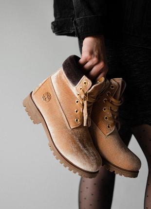 Модные женские ботинки на зиму💪timberland x off white, ginge💪