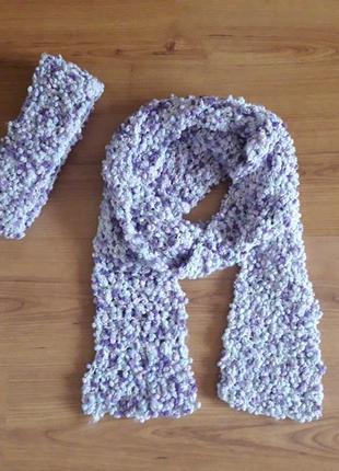 Комплект, повязка и шарф, ручная работа