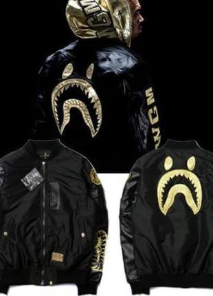 🔥бомбер в стиле bape gold shark black🔥