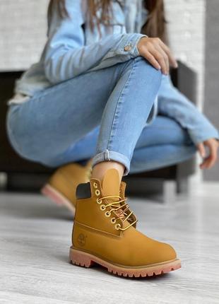 Оранжевые ботинки унисекс без меха timberland