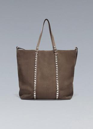 Большая 100% кожаная замшевая женская сумка-шоппер оригинал от...