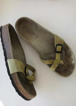 Кожаные шлёпанцы вьетнамки сандалии крест-накрест цвета хаки