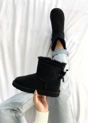Угги с бантиком💪ugg bailey bow mini black💪