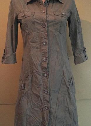 Платье-халат в стиле сафари, р. s