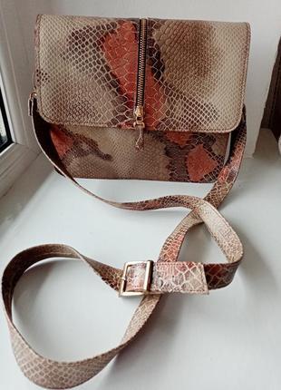 Кожаная сумочка кроссбоди сумка через плечо с длинной ручкой а...