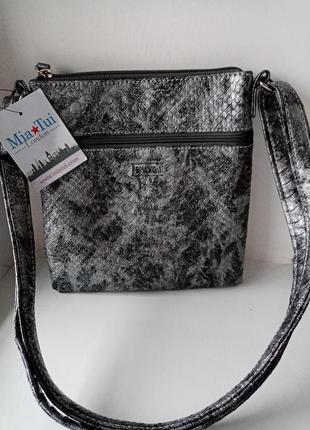 Стильная сумочка кроссбоди сумка через плечо змеинный принт