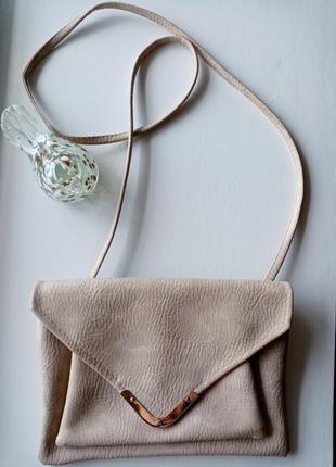Кожаная сумочка на узлах кросс боди сумка с длинной ручкой