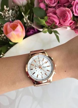 Наручные часы geneva розовое золото с металлическим ремешком
